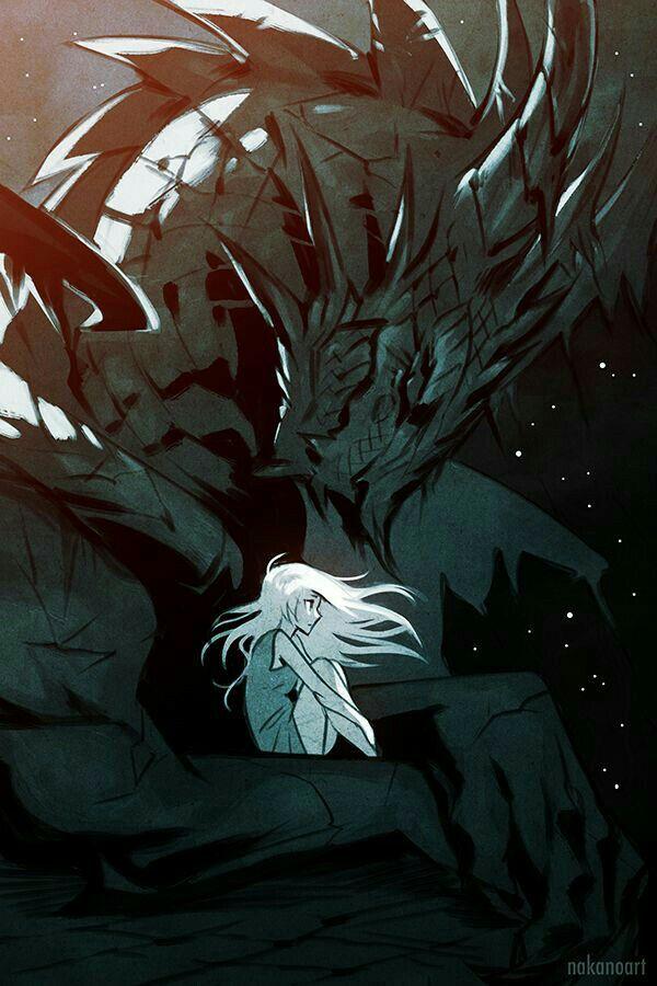 Anime girl, white hair, Dragon, cool; Dragons