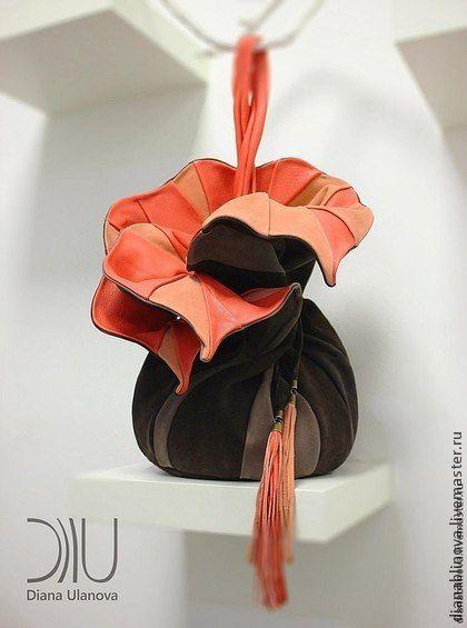 """сумка кожаная """"Торба-Орхидея"""" - однотонный,рюкзак кожаный,сумка кожаная"""