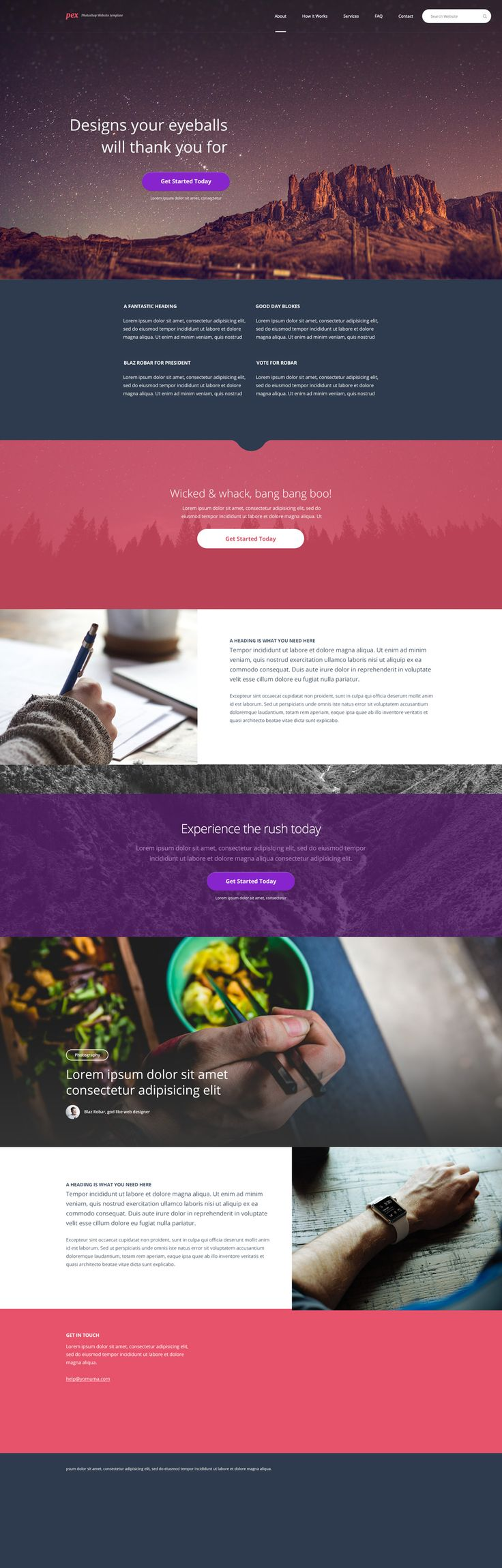 Pex – A free website home page Photoshop PSD An image heavy and block layout template, this website design really suits bold colours, large headline text and dominant imagery. #webdesign