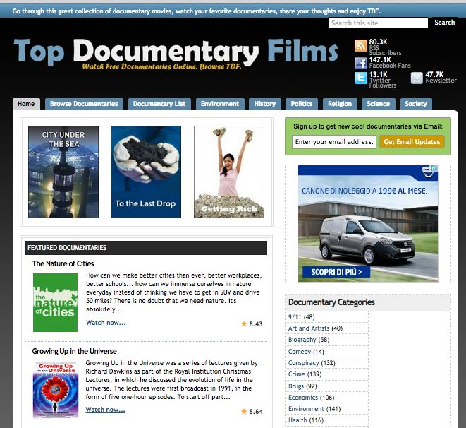 A curated collection of the best free documentaries available online. Top Documentary Films - http://topdocumentaryfilms.com/
