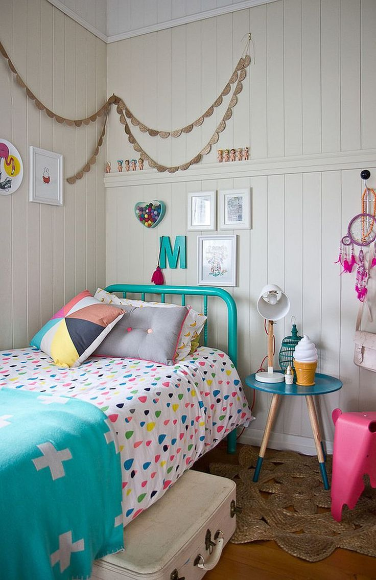 Colourful bedrooms summer style. Love the icecream light, candy coloured bedding and retro accessories.