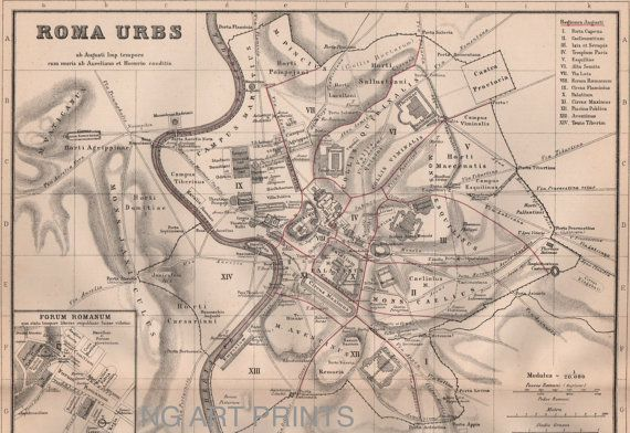 Map of Ancient Rome, 1800s Antique Map Hand Colored Map by NGArtPrints, $23.50