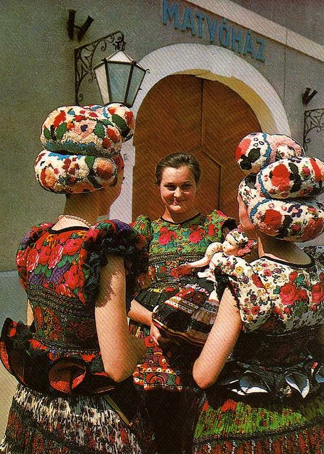 Hungarian Matyó folk costumes, from the northern part of Hungary