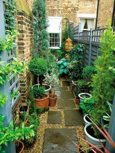 Narrow Garden Space of Townhouse This very narrow space on the side of a townhouse is made more interesting by using an interesting paving pattern with tiles and pea gravel, plus a variety of plants in pots.                                                                                                                                                     More