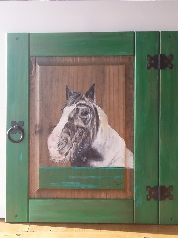 Painted on an old cupboard door