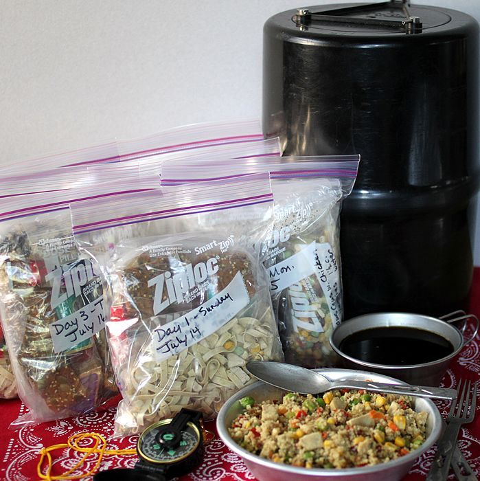 A Week of Lightweight, Nutritious Backpacking Food - How to make and pack 7 days of breakfasts, lunches, dinners & snacks for camping & hiking. Everything fits in a bear barrel.