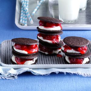 Black Forest Sandwich Cookies Recipe -Using purchased chocolate wafers speeds up the prep for these sandwich cookies. You can make them ahead of time, too. —Taste of Home Test Kitchen