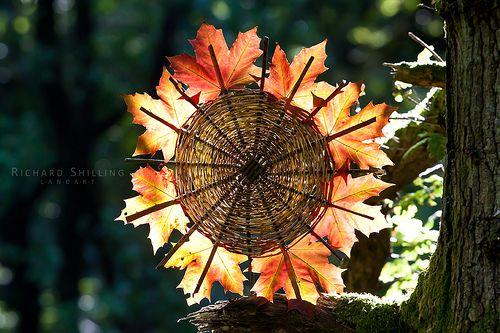 herbstliches Feuerrad, tolle Idee für die Waldwoche