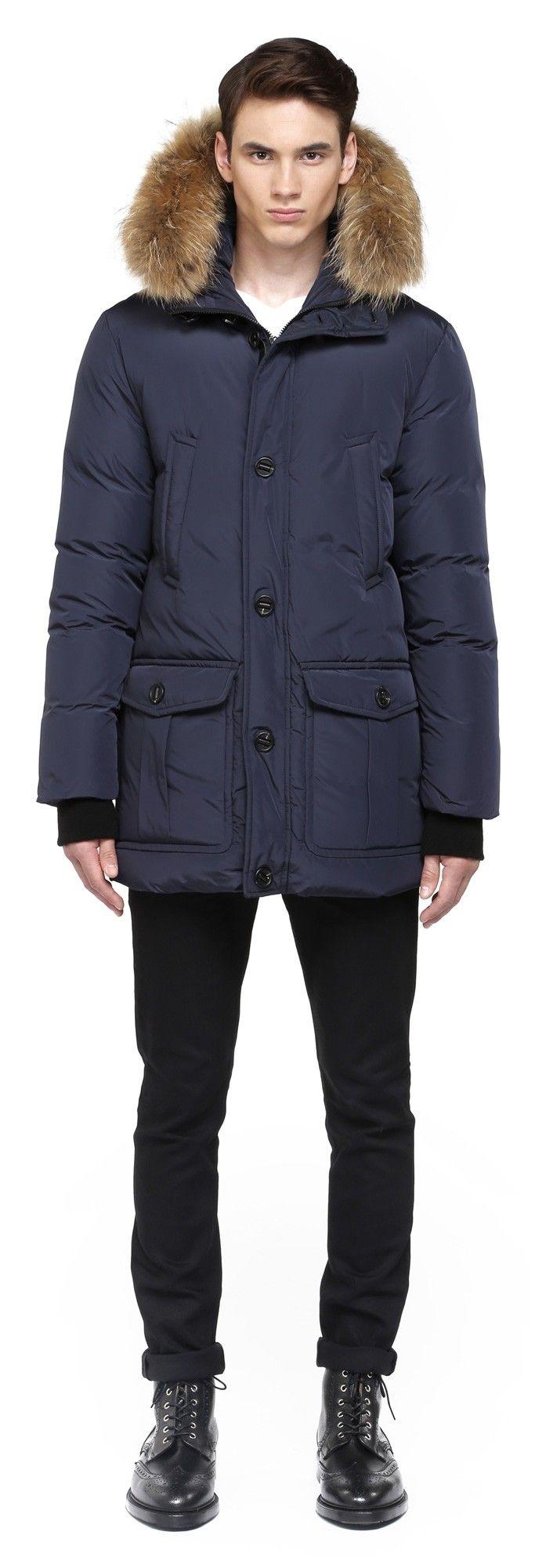 Mackage - BRYAN INK DOWN PARKA WITH FUR HOOD TRIM FOR MEN. www.mackage.com #menswear #fw14 #wintercoat #fur #parka #luxuryouterwear