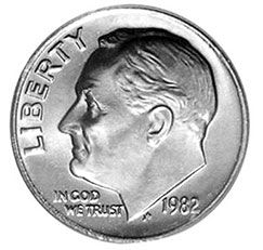 1982 no-P Roosevelt dime, valuable pennies, pennies worth money, rare pennies