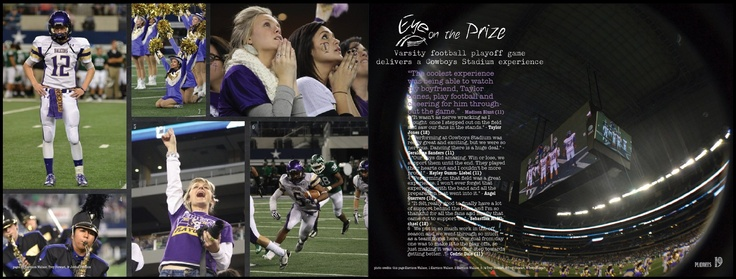 Football playoff spread for horizontal yearbook. Timber