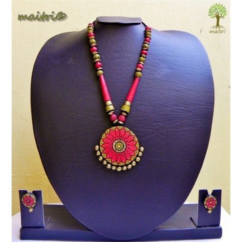 Terracotta Jewelry - AT 17_Antique Red green  www.facebook.com/maitri.crafts.maitri maitri_crafts@yahoo.com