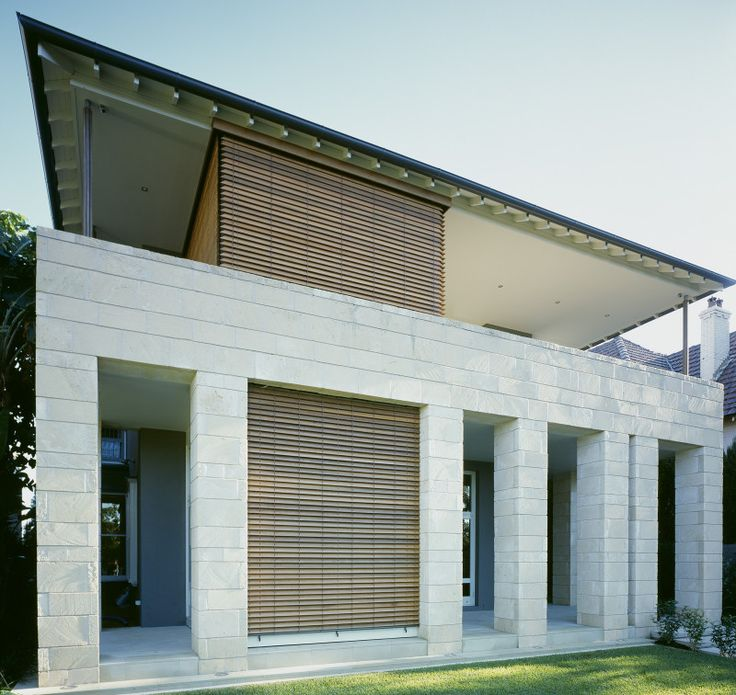 [Project: Martin Road] Timber horizontal louvres provide screening