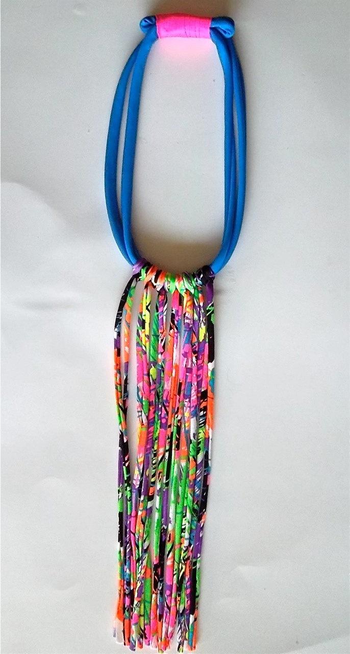 SALE Neon Splash Fringe Necklace, Bib in fiber Coil with Electric Blue Collar, Hot Pink, Neon Orange, Neon Purple, Tribal Unique Long. $25.00, via Etsy.