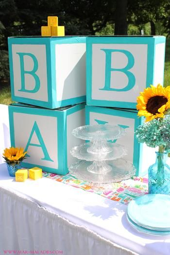 turquoise baby shower | yellow and turquoise baby shower via babyshowerideas4u.com letter ...