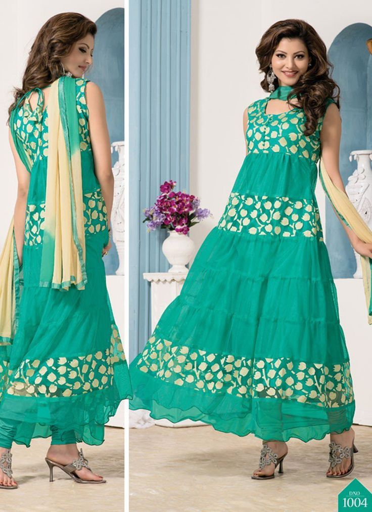 Latest Cyan Colourful Designer Anarkali Suits for Women.