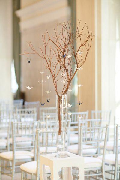 Paper cranes: http://www.stylemepretty.com/little-black-book-blog/2015/03/06/modern-timeless-st-louis-wedding/ | Photography: Lisa Hessel - http://lisahesselphotography.com/