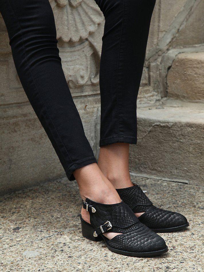 Jeffrey Campbell Singer Shoe Boot in Black (Black Python)