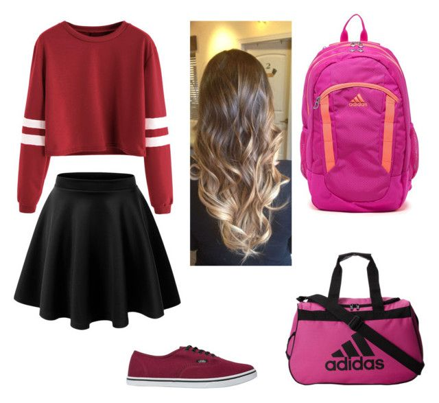 """""""Cassidy's Outfit 1"""" by cass-roar-meg on Polyvore featuring LE3NO, Vans and adidas"""