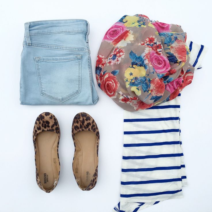 Heather Oatmeal and Blue Striped Shirt and floral scarf - www.shopcsgems.com
