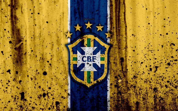 Download wallpapers Brazil national football team, 4k, emblem, grunge, South America, football, stone texture, soccer, Brazil, logo, South American national teams