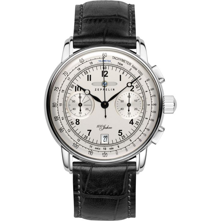 This attractive men s Zeppelin 100 Jahre watch is made from stainless steel and is fitted with a chronograph quartz movement. It is fastened with a black leather strap and has a silver dial. The watch has a date function.