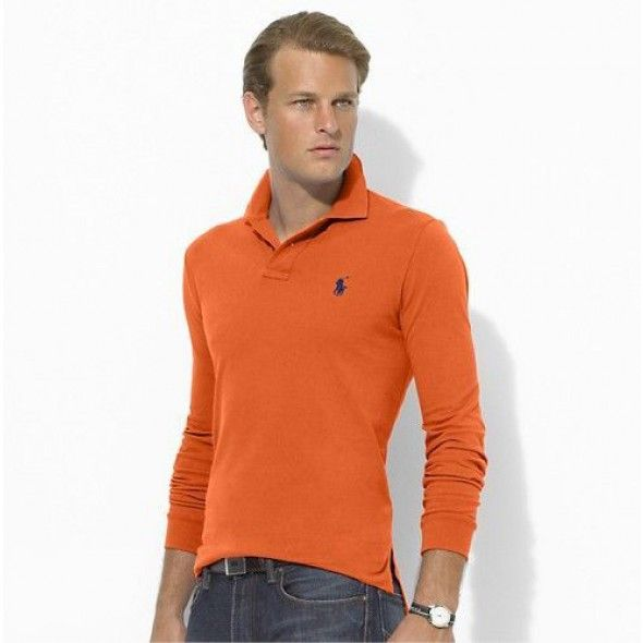 Ralph Lauren Mesh Polo Orange Blue Men Stickup [rl 796] - ��29.62 :