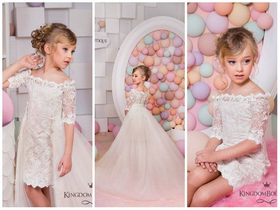 Ivory Cappuccino Flower Girl Dress  Wedding by Butterflydressua