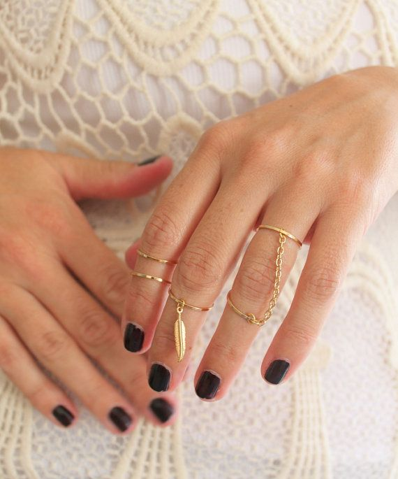Set of 5 GOLD tone above the Knuckle ring chain drape &Feather Bohemian Vintage style Free People style Native Boho bridesmaids