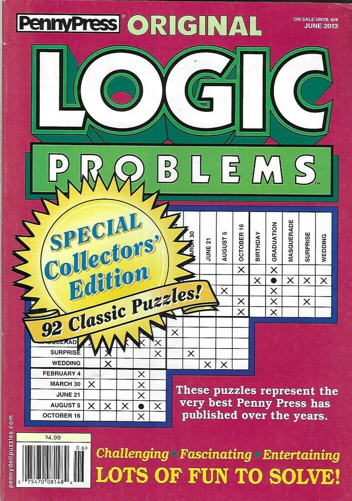 Penny Press Magazine Original Logic Problems Special Collectors Edition Puzzles In 2020 Logic Problems Logic