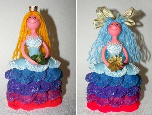 Принцесса - куколка из пластилина,или пластика! / Детское творчество - аппликации, поделки из цветной бумаги, картона, теста, пластилина, пластиковых бутылок для детей / Лунтики. Развиваем детей. Творчество и игрушки