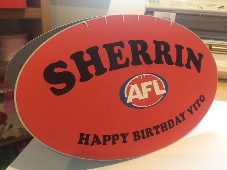 AFL football card designed and cut on the silhouette cameo