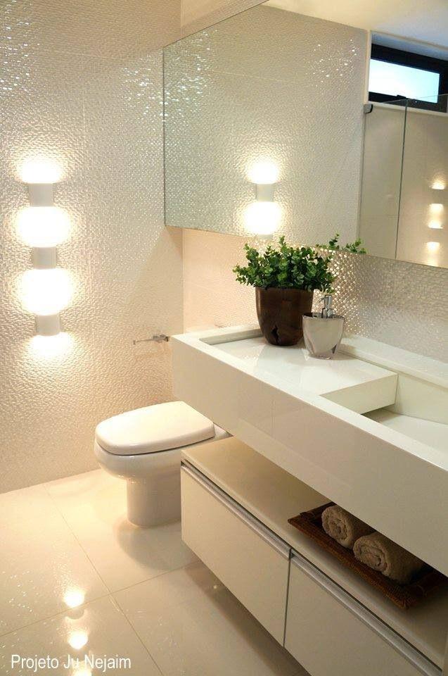 Lavabo com pia esculpida em nanoglass Projeto da arquiteta Ju Nejaim  Banhe -> Pia De Banheiro Em Nanoglass