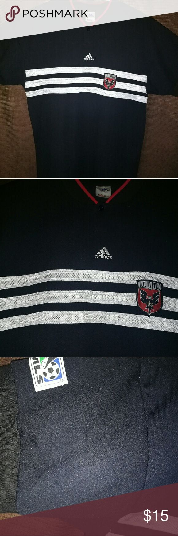2XL-Adidas S/S DC United MLS. No-Collar 1-button Official DC United MLS Fan Shirt. Used but loved shirt.No stains or rips.Feels great. All offers will be considered. Please post any questions or comments.Will reply asap. Adidas Shirts Polos