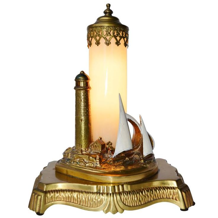 Antique Brass Lighthouse Lamp with Opalescent Glass For Sale