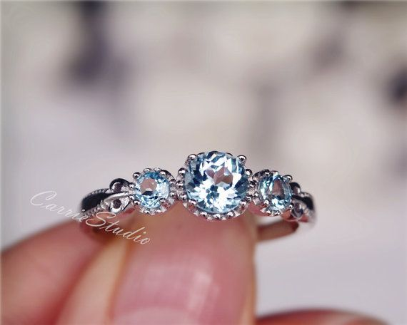 Natural Sky Blue Topaz Ring Topaz Engagement Ring Wedding Ring Sterling Silver Ring Anniversary Ring Birthday Present