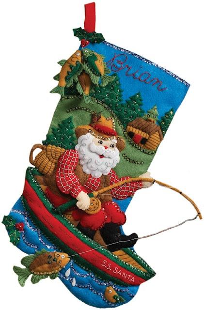 Fishing Santa Bucilla Stocking Kit. This kit is part of MerryStockings Vintage Stocking line.