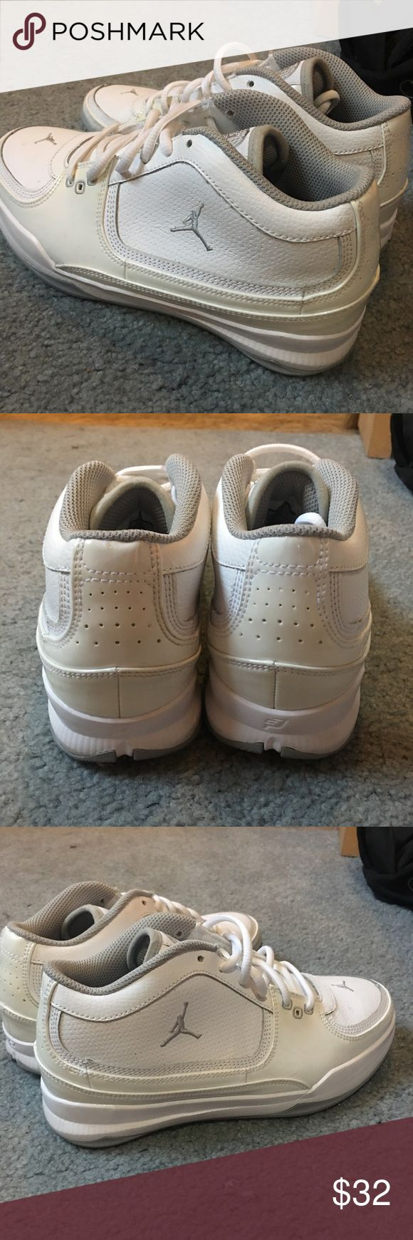 White Jordans Excellent condition Jordans. I wore them one time so they still look new! Kids size 6.5Y but will fit a size 7 or 7.5 in women's :) Air Jordan Shoes Athletic Shoes