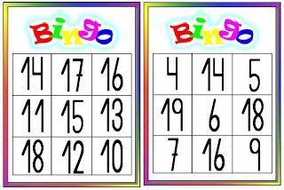 Docência em Foco: Bingo dos números até 19