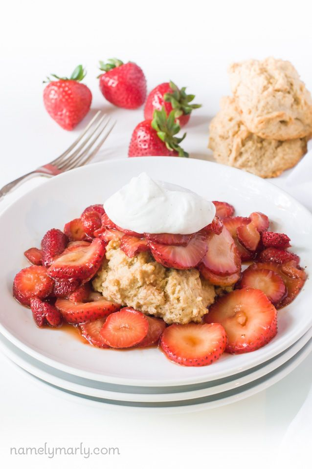 Summertime fun begins with this Vegan Strawberry Shortcake with homemade vegan shortcakes, strawberries, and coconut whipped cream.