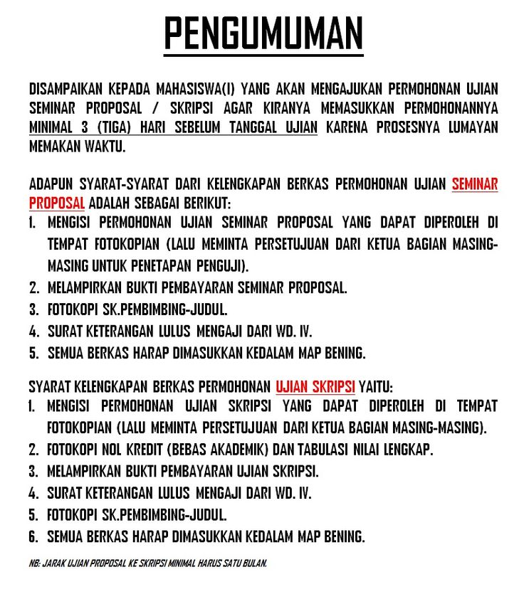 Pengumuman Syarat Pendaftaran Skripsi-Proposal