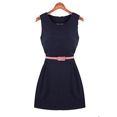 Das Shangya mulheres ocidentais Simplicidade emenda vestido sem mangas com cinto (Cor da tela) - BRL R$ 36,09