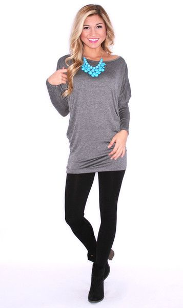 EVERYDAY CHIC TUNIC CHARCOAL $ 24.00