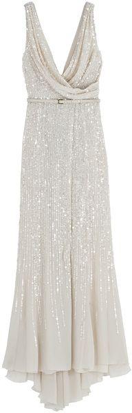 Elie Saab Wrap Cowl Sequin Gown