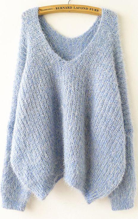 Sky Blue Long Sleeve V Neck Oversize Mohair Sweater - Sheinside.com