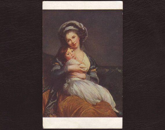 Card-  autoritratto della pittrice Elisabeth Vigée LeBrun, con la figlioletta.