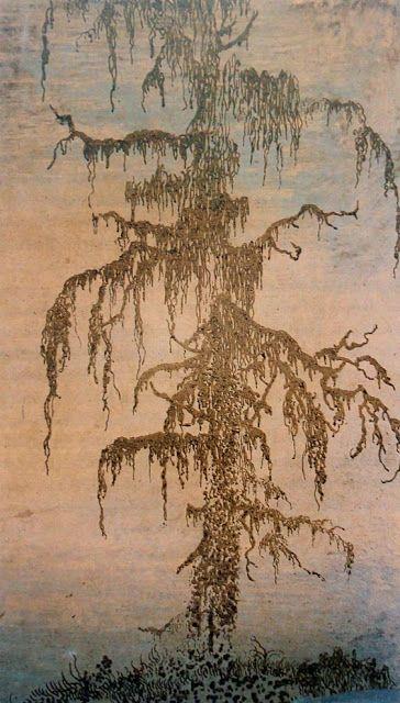 "Hercules Segers. ""Mossy Tree"", c. 1620-1630, woodcut colored paper, Rijksprentenkabinet, Amsterdam"