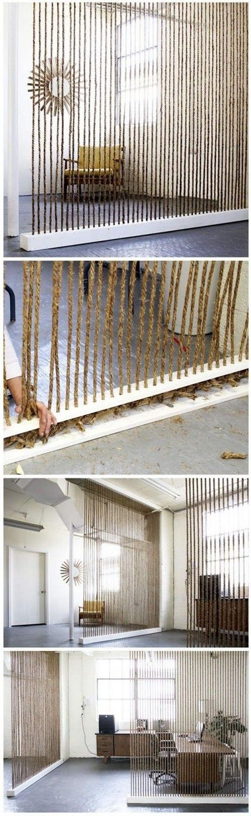 Room divider: Wood boxes were custom built with evenly spaced rope sized holes drilled through the top and bottom.