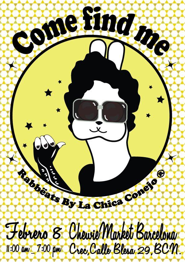 Mañana domingo 8 de febrero, ven y encuéntrame en el ChewieMarket Barcelona desde las 11 am hasta las 7:00 pm Rabbëat en el Flyer: #LouReed #RabbeatsByLaChicaConejo #totebags #joyas #vintage #camafeos #anillos #postales