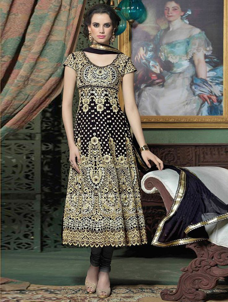 Be an absolute royalty of splendor in this beautiful black bridal salwar suit. #Shopnow